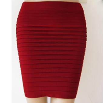Elife Women Fashion Casual Solid Mini Short Skirts Tight Hip Pack Skirt ( Wine Red ) - intl
