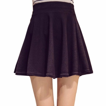 Encontrar Women Solid A-Line Skirt with Safety Shorts Plus Size M-5XL(Black) - intl