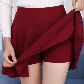 Encontrar Women Solid A-Line Skirt with Safety Shorts Plus Size M-5XL(Wine Red) - intl