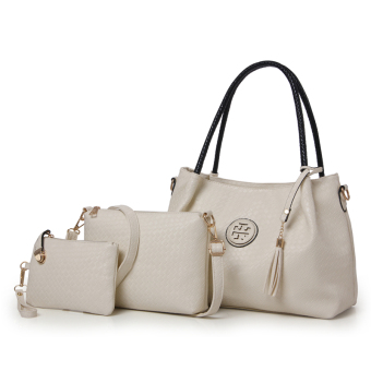 European and American weave pattern shoulder fashion large bag women's bag (Off-white color)