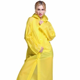 Fancyqube Fashion EVA Environment Raincoat For Man Woman Lady Outdoor Rainwear Rain Coat Waterproof Poncho Transparent Yellow - intl