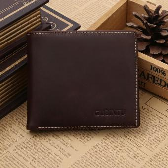 Fashion Brand Men's The First Layer Cowhide Crazy Horse Multi-function Short Genuine Leather Wallet - intl