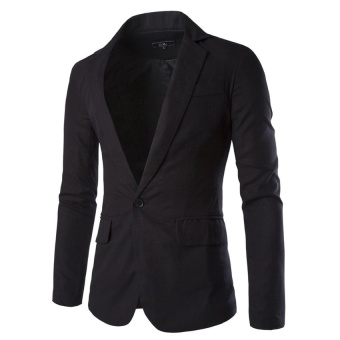 Fashion Stylish Men's Blazer Coat Jacket Casual Slim Fit One Button Suit Black - intl
