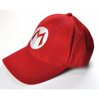 Fashion Super Mario Bros Cotton Baseball Hat Anime Cosplay Mario Cap Red - intl