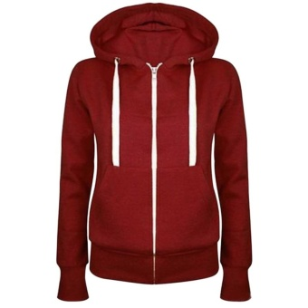 Fashion Women Solid Zip Up Hoodies Sweatshirt Hooded Long Sleeve Autumn Winter Coat Tops - intl
