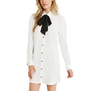 Fashion Women Summer Long Sleeve Bow Tie Loose Party Casual Short Mini Dress - intl