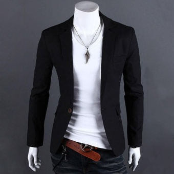 Favolook Stylish Men Casual Slim Fit One Button Suit Blazer Coat Jacket Tops (Black) - intl
