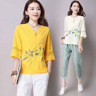 Female real shot Chinese costume Slim fit Slimming effect Linen costume (Ginger yellow) (Ginger yellow)