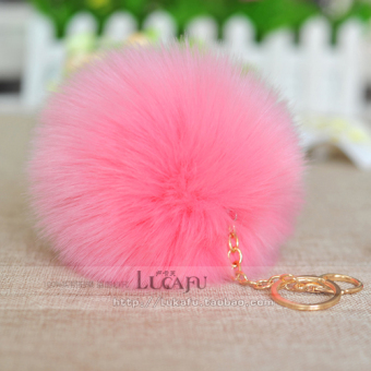Fox imitation rabbit fur hair ball decoration ball (Pink)
