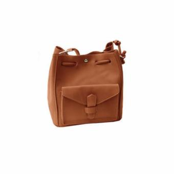 [Geraldine] Megan Structure Bucket Bag (Brown)