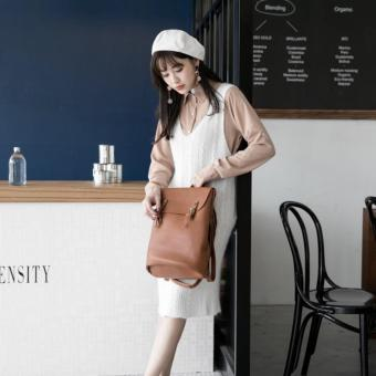 [Geraldine] Stephanie 3 Way Shoulder Backpack (Brown)