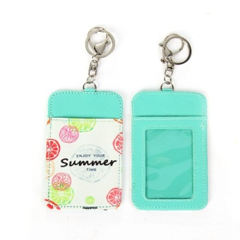 Gracefulvara Chic Fruit Leather ID Card Holder Card Case Badge Neck Strap Lanyard Key Ring -