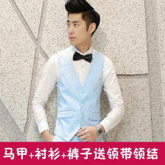 Harga Groom suit vest three piece suit men's suit best man wedding dressBritish vest business professional dress (Light blue)