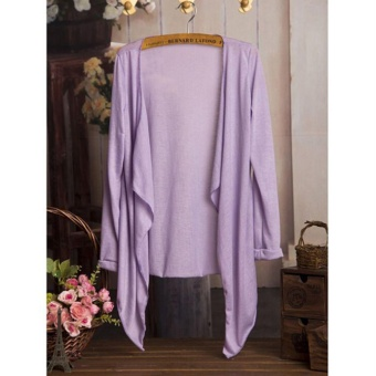 Hang-Qiao Women Summer Cardigan Candy Color Knitted Blouse Long Sleeve Tops - intl