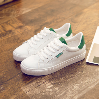 Harajuku female New style spring lace canvas shoes white shoes (White and green)