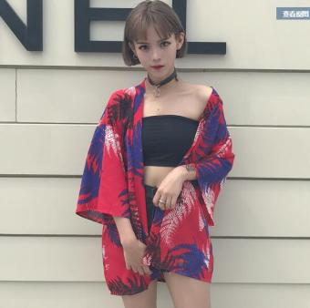 Harajuku Japanese-style kimono loose tide summer jacket sun protection clothing (Leaves Print red) (Leaves Print red)