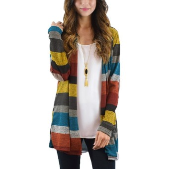 Hequ Cardigan Women Long Boho Knitted Striped Cardigans Outwear Long Sleeve Loose Sweater - intl