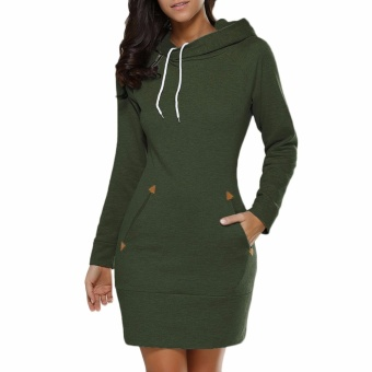 Hequ Women Fashion Hooded Zipper Long Sleeved Head Sweater Dress Autumn Sweatshirts Army green - intl