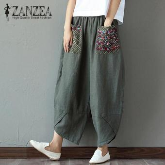 Hot ZANZEA 2018 Autumn Women Polka Dot Retro Print Pockets Loose Elastic Waist Cotton Linen Harem Pants Leisure Long Trousers Plus Size Pantalon Green - intl