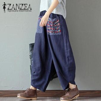 Hot ZANZEA 2018 Autumn Women Polka Dot Retro Print Pockets Loose Elastic Waist Cotton Linen Harem Pants Leisure Long Trousers Plus Size Pantalon Navy - intl