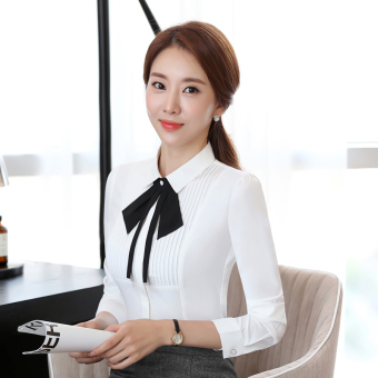 2017 spring and summer new korean version of the white long sleeve ladies shirt fashion slim wild ol professional women's shirt