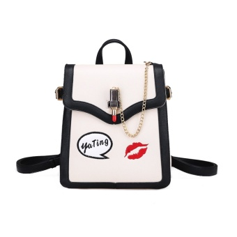 Harga Every day special Ya Ting shoulder backpack female New style tide Korean-style wild fashion campus embroidery lipstick locks bag