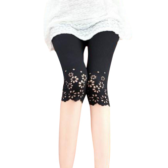 Harga Trendy Ladies Cotton Skinny Cropped Hollow Pattern Stretch Leggings - Intl