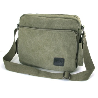 Clearance retro canvas bag multi-purpose shoulder bag casual bag Korean-style female messenger Multi-Function (L + Army green)