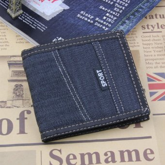 Harga Men's Jean Canvas Casual Short Wallets MWT-NZC009 - intl