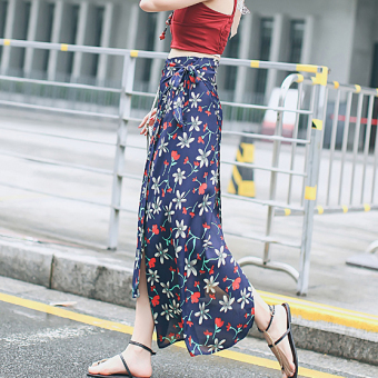 Harga 2017 new slim floral skirts summer dai style irregular fashion long skirt slit lace tide