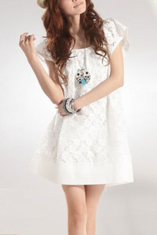 Harga Cyber Flower Lace Net Mini Dress (White)