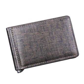 Harga Fashion Portable Men Money Clip Wallet Slim PU Leather Front Pocket Wallet Birthday Valentine Day Gift for Dads Grandpas Husbands Boyfriend Men Money Clip Golden Cover - intl