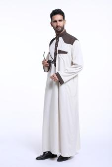 Harga Men's Robes Jubahs Arab Middle East Muslim Latest Designs long sleeve men's clothes - Ivory - intl