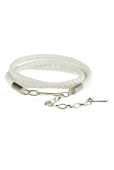 Harga Sanwood PU Leather Skinny Belt (White)