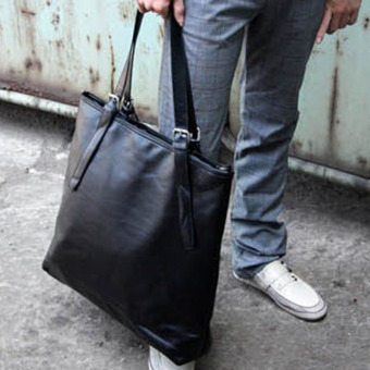 Harga Tidog Han edition style is concise and PU leather shoulder bag Man portable recreation bag large bag - intl