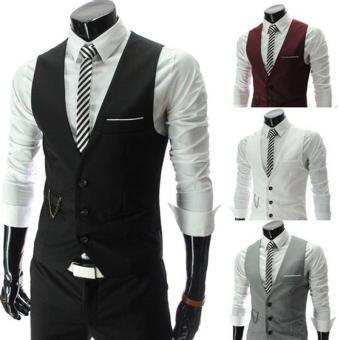 Harga 2016 New Arrival Dress Vests For Men Slim Fit Mens Suit Vest(Black) - intl