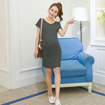 Harga Small Wow Maternity Fashion Round Stripe Cotton Above Knee Dress Black - intl