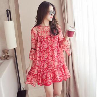 Harga Small Wow Maternity Korean Round Print chiffon Loose Above Knee Dress Red - intl