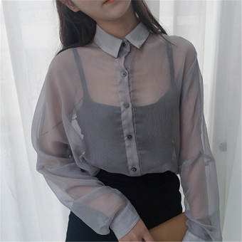 Harga Perspective loose sun shirt korean wild slim long sleeve shirt female casual shirt female summer shirt korean korean fan (Gray)