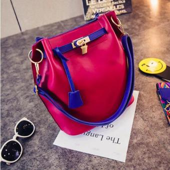 Harga Trapeze premium branded bucket bag 1 +1 cross body bag with additional fancy strap (wine/navy)