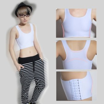 Harga Les Lesbian Tomboy Strengthen Flat Chest Breast Binder Short Cosplay Vest Bra White XL Size