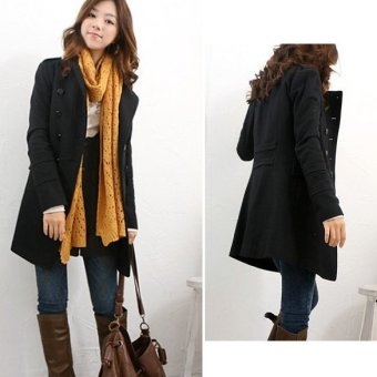 Womens Chic Double-Breasted Slim Trench Coat Black - Intl