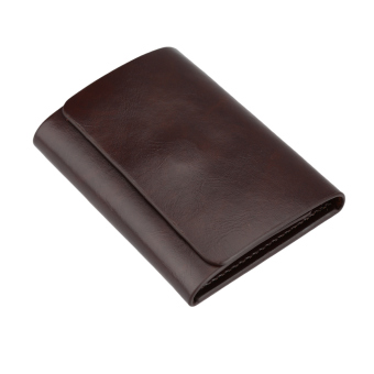 Harga Fashion Men Money Clip Wallet Genuine Leather Short Card Holder Trifold Magnet Business Mini Wallet Coffee/Brown
