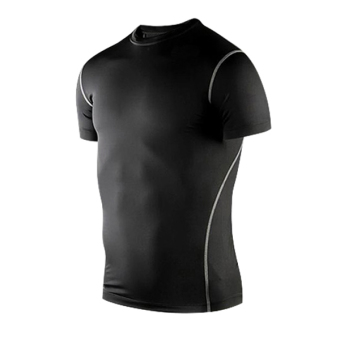 Harga Mens Sports Compression Under Base Layers Short Sleeve Tights T-Shirts Black(Export)