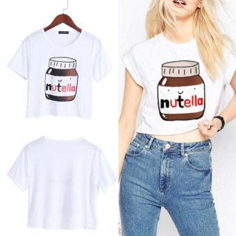 Harga Women Nutella Print Kawaii Crop Tops Summer Short Sleeve T Shirt Harajuku Fitness(S) - intl