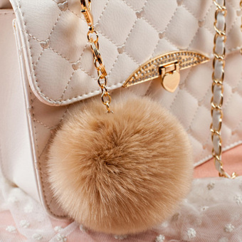 Cute plush ball pendant large pendant fashion leather grass imitation fox fur plush bag pendant keychain ornaments (Khaki)