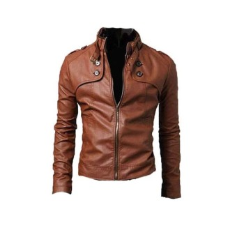 Harga PU Leather Jacket Brown