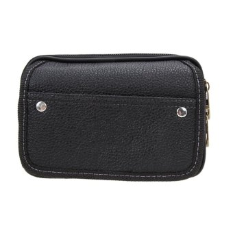 Harga Men PU Leather Wallet Black - intl