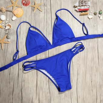 Women Bikini Set Intimate Padded Bra Swimsuit (Royalblue S) - intl