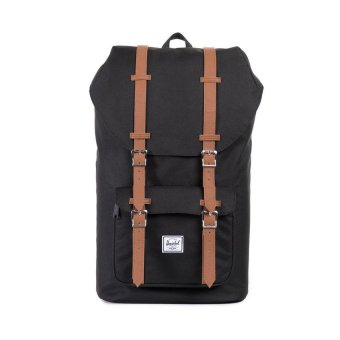 Harga Herschel Supply Co - Little America - Black Leather - Full Volume